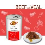 CHUNKS with BEEF & VEAL Bocconi con Manzo e Vitello - Gustosissimi bocconi cotti al vapore per Cani di taglia grande
