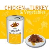 CHUNKS with CHICKEN & TURKEY & VEGETABLES Bocconi con Pollo, Tacchino e Verdure - per Cani di taglia media e piccola