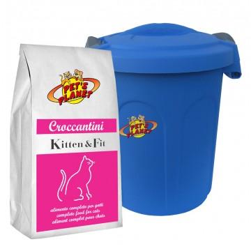 KITTEN & FIT Croccantini per Gattini e Gatti che vivono all'aperto e fanno movimento con Contenitore salvafreschezza - 2kg