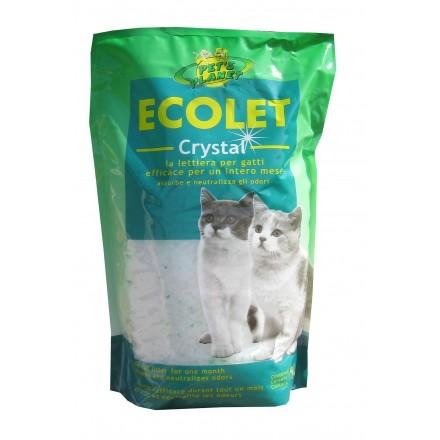 ECOLET CRYSTAL Lettiera Ecologica. Neutralizza gli odori, non Polverosa e Contribuisce a Ridurre le Allergie - 5 lt