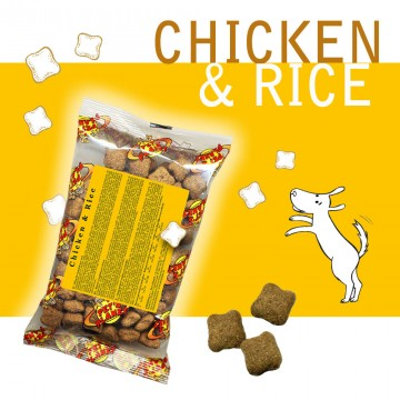 Chicken @ Rice - Croquettes pour chiens - Single Pack. En voyage, dans le sac, toujours avec soi!