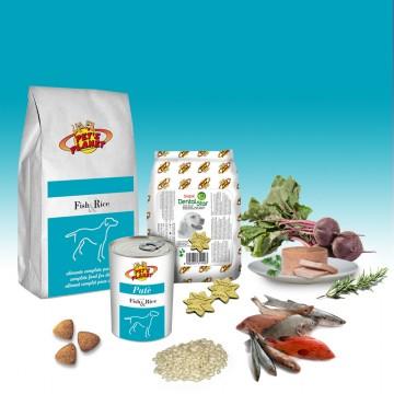 Menu avec poisson et riz pour chiens sensibles de taille moyenne.