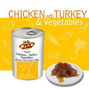 Chunks with Chicken & Turkey & Vegetables con Pollo, Tacchino e Verdure. Gustosissimi pezzettoni cotti a vapore