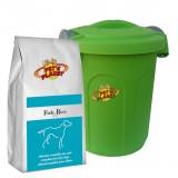 FISH & RICE Crocchette per Cani - Alimento 4 kg per Cani di piccola e media taglia, con Contenitore salvafreschezza medio