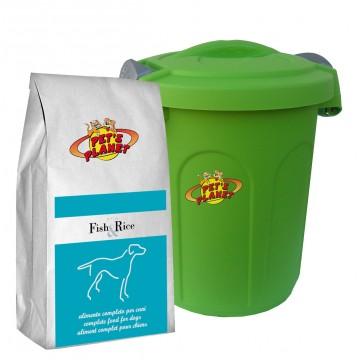Fish & Rice Crocchette - Alimento per cani con Contenitore salvafreschezza medio - confez. 4 kg
