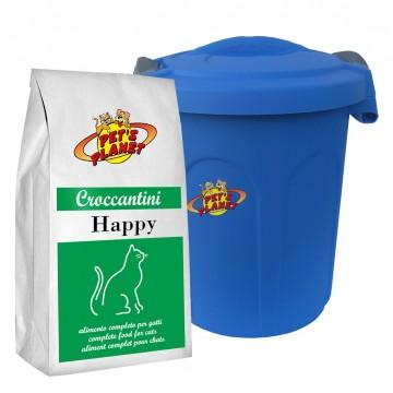 HAPPY Croccantini anche per gatti sterilizzati con Contenitore salvafreschezza mini - confez. 2kg
