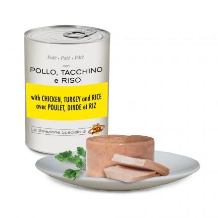 Pâté avec POULET, DINDE et RIZ pour chiens, 400 g