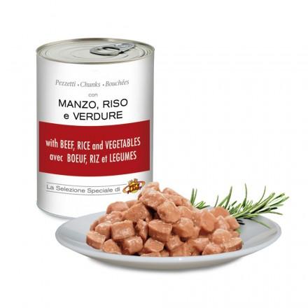 Bouchées avec BOEUF, RIZ et LÉGUMES pour chiens, 405 g