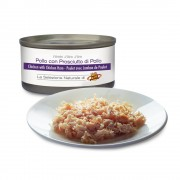 Filettini di POLLO al naturale con PROSCIUTTO di POLLO per gatti, 85 g