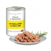 Pezzetti con POLLO e TACCHINO per gatti, 405 g